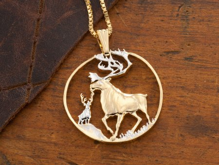 """Caribou Wildlife Pendant and Necklace, Caribou Wildlife Medallion Hand Cut, 14 Karat Gold and Rhodium Plated,1 3/8"""" in Diameter , ( # 849 )"""