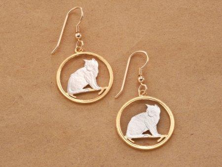 Cat Earrings, Cat Jewelry, Cat Gifts Ideas, Feline Gift Ideas. Alley Cat Jewelry, Earrings For Woman, Coin Jewelry, Earrings , ( # 661E )