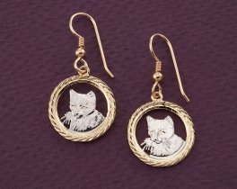 Cat Earrings, Domestic Cat Earrings, Kitten Earrings, Kitten Jewelry, Cat Jewelry, Womans Jewelry, Womans Gift Ideas, Coin Pendant, (# 617E)