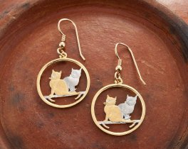 "Cat Earrings, Hand Cut Isle Of Man Cat Coins, Cat Jewelry, Cat Gifts, Balinese Cat Jewelry, 7/8"" in Diameter, ( # 785E )"