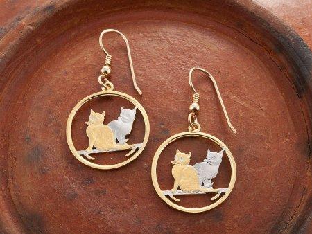"Cat Earrings, Hand Cut Isle Of Man Cat Coins, Cat Jewelry, Cat Gifts, Balinese Cat Jewelry, 7/8"" in Diameter, ( # 785E )"