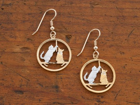"""Cat ( Kitten ) Coin Earrings, Isle Of Man Cat Coins Hand Cut, 14 Karat Gold and Rhodium Plated, 14K G/F Wires,7/8"""" in Diameter, ( # 726E )"""