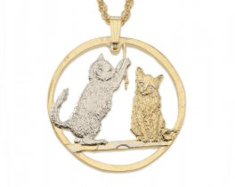 """Cat ( Kittens ) Pendant and Necklace, Isle Of Man Cat Coin Hand Cut, 14 Karat Gold and Rhodium Plated, 1 1/4"""" in Diameter, ( # 727 )"""