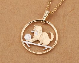 "Cat Pendant and Necklace Jewelry, Isle Of Man Cat Coin Hand Cut, 14 Karat Gold and Rhodium Plated, 7/8"" in Diameter, ( # 710 )"