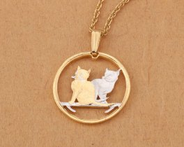"Cat Pendant and Necklace Jewelry, Isle Of Man Cat Coin hand Cut, 14 Karat Gold and Rhodium Plated, 7/8 "" in Diameter, ( # 785 )"