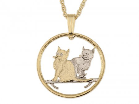 """Cat Pendant and Necklace Jewelry, Isle Of Man Cat Coin hand Cut, 14 Karat Gold and Rhodium Plated, 7/8 """" in Diameter, ( # 785 )"""