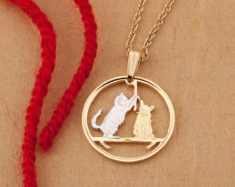 "Cat Pendant and Necklace Jewelry, Isle Of Man Cat Coin Hand Cut, 14Karat Gold and Rhodium Plated, 7/8 "" in Diameter, ( # 726 )"