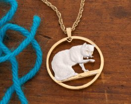 Cat Pendant, British Blue Cat Jewelry, British Blue Cat Pendant, Domestic Cat Jewelry, Womans Jewelry, Womans Gifts, Coin Pendant, ( # 732 )