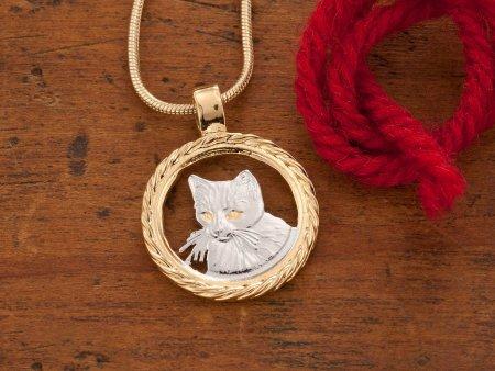 Cat Pendant, Cat Jewelry, Cat Necklace, Hand Cut Coin Jewelry, Cat Coin Jewelry, Jewelry For Woman, Domestic Animal Jewelry, ( # 617 )
