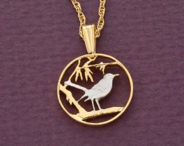 "Cayman Island Thrush Bird Pendant, Cayman Island One Cent Hand Cut, 14 K Gold and Rhodium PLated, 5/8"" in Diameter, ( # 57 )"