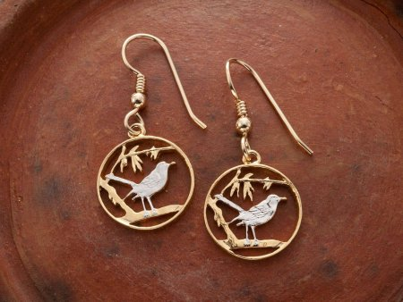 "Cayman Thrush Bird Earrings, Cayman Island One Cent Hand Cut, 14K Gold and Rhodium plated, 5/8"" in Diameter,14K Gold Filled Wires, ( # 57E )"