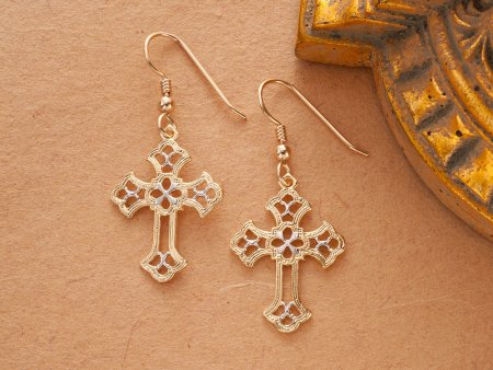 "Celtic Cross Earrings, Celtic Cross medallion Hand Cut, 14 Karat Gold and Rhodium Plated, 14K G/F Wires, 1"" in Daimeter, ( # 815E )"