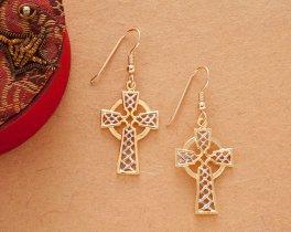 "Celtic Cross Earrings, Celtic Cross medallion Hand Cut, 14 Karat Gold and Rhodium Plated, 14K G/F Wires, 1"" in Diameter, ( # 819E )"