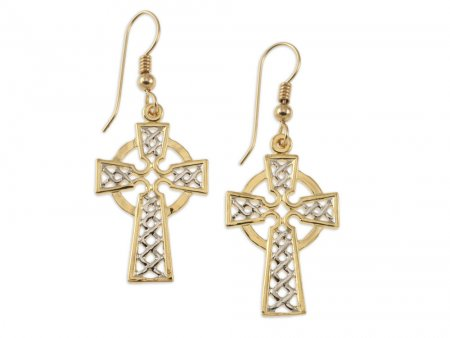 "Celtic Cross Earrings, Celtic Cross medallion Hand Cut, 14 Karat Gold and Rhodium Plated, 14K G/F Wires, 1"" in Diameter, ( # 819E )"