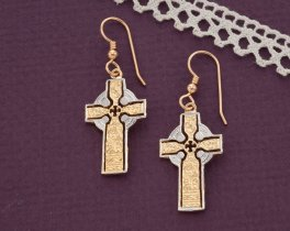 "Celtic Cross Earrings, Private Mint Celtic Medallion Hand Cut, 14 Karat Gold and Rhodium plated, 14K G/F Wires 1"" in Diameter, ( # 776BE )"