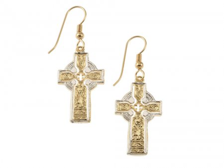 """Celtic Cross Earrings, Private Mint Celtic Medallion Hand Cut, 14 Karat Gold and Rhodium plated, 14K G/F Wires 1"""" in Diameter, ( # 776BE )"""