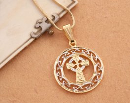 "Celtic Cross Pendant and Necklace, Celtic Cross Medallion Hand Cut, 14 Karat Gold and Rhodium Plated, 1"" in Diameter, ( # 906 )"