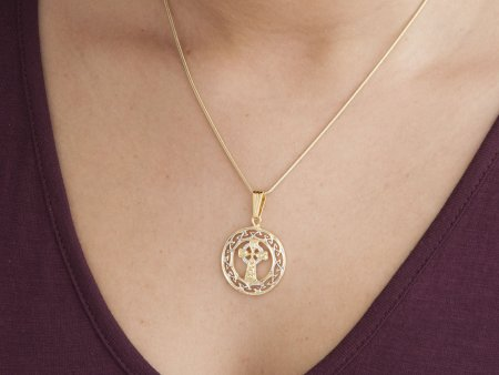 """Celtic Cross Pendant and Necklace, Celtic Cross Medallion Hand Cut, 14 Karat Gold and Rhodium Plated, 1"""" in Diameter, ( # 906 )"""