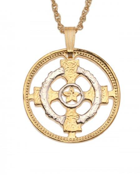 "Celtic Cross Pendant, Hand cut Northern Ireland Celtic Cross design, 1"" in diameter, ( # 818 )"