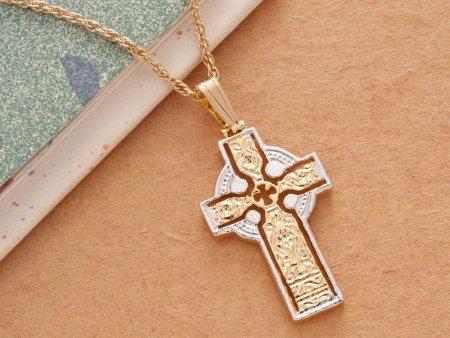 Celtic Cross Pendant & Necklace , Hand Cut Celtic Medallion, ( # 776B )