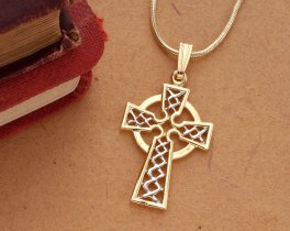 Celtic Cross Pendant & Necklace , Hand Cut Celtic Medallion, ( # 819 )