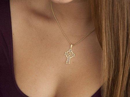 Celtic Cross Pendant & Necklace , Hand Cut Celtic Medallion, ( # 819 )