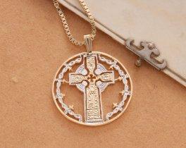 Celtic Cross Pendant & Necklace , Hand Cut Medallion, ( # 776 )