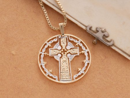 Celtic Cross Pendant & Necklace , Hand Cut Medallion, ( # 776 )