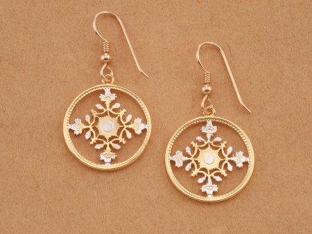 Cherry Blossom Earrings, Japanese Earrings, Floral Earrings, Coin Earrings, Japanese Coin Jewelry, Flower Earrings, Coin earrings, (# 904E)