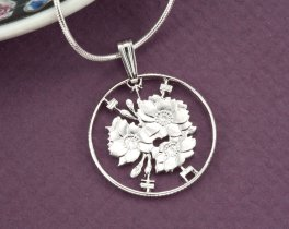Cherry Blossom Pendant, Japanese Jewelry, Flower Pendant, Silver Flower Pendant, Ethnic Jewelry, Coin  Jewelry, Jewelry For Woman, (# 213S )