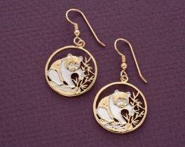 "China Panda Bear Earrings, Chinese Panda Bear Coin Hand Cut, 14 K Gold and Rhodium plated, 3/4"" in Diameter, ( # 67E )"