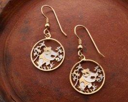 """China Panda Bear Earrings, Chinese Panda Bear Coin Hand Cut, 14 Karat Gold and Rhodium Plated, 7/8"""" in Diameter, ( # 365E )"""