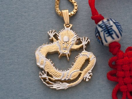 "Chinese Dragon pendant and Necklace, Chinese Dragon Coin Hand Cut, 14 Karat Gold and Rhodium Plated, 1"" in Diameter, ( # 72 )"