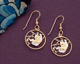 "Chinese Panda Bear Earrings, Chinese 10 Yuan Panda Coin Hand Cut, 14 Karat Gold and Rhodium plated, 5/8"" in Diameter, ( # 62E )"