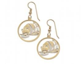 "Chinese Panda Bear Earrings, Chinese Panda Bear Coin Hand Cut, 14 K Gold and Rhodium plated, 7/8"" in Diameter, ( # 64E )"