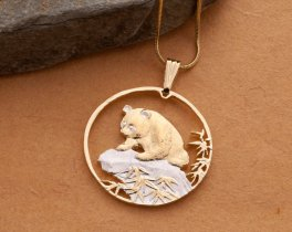 "Chinese Panda Bear Pendant and Necklace, Chinese Panda Coin Hand Cut, 14 Karat Gold and Rhodium Plated, 1 1/4"" in Diameter, ( #879 )"