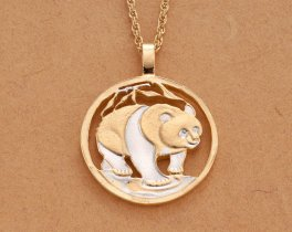 "Chinese Panda Pendant and Necklace, Chinese Bullion Panda Coin Hand Cut, 14 Karat Gold and Rhodium plated, 1 1/4 "" in Diameter, ( # 746 )"