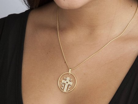 """Christian Cross and Heart Pendant and Necklace, Religious Medallion Hand Cut,14 Karat Gold and Rhodium Plated,1 1/4"""" in Diameter, ( # 875 )"""