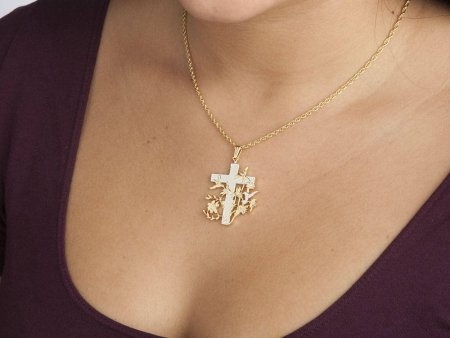 """Christian Cross Pendant and Necklace Jewelry, Religious medallion Hand Cut, 14 Karat Gold and Rhodium Plated,1 1/4 """" in Diameter, ( # 529B )"""