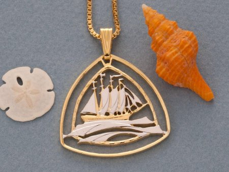 "Clipper Sailboat Pendant, Hand Cut Bermuda Three Dollar Nautical Coin, 14 Karat Gold and Rhodium Plated, 1 1/4"" in Diameter,( # 936 )"