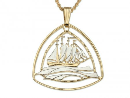 "Clipper Sailboat Pendant, Hand Cut Bermuda Three Dollar Nautical Coin, 14 Karat Gold and Rhodium Plated, 1 1/4"" in Diameter,( # 936 )"