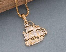 "Clipper Ship Pendant and Necklace, Chinese Clipper Ship Coin hand Cut, 14 Karat Gold and Rhodium plated, 7/8"" in Diameter, ( # 567 )"