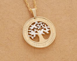 "Colombia Coin Pendant and Necklace, Colombia Guacari Tree Coin Hand Cut, 14 Karat Gold and Rhodium Plated,7/8"" in Diameter, ( # 868 )"
