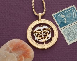 "Colombian Pendant and Necklace, Hand Cut Colombian 50 Centavos Coin, Colombian Jewelry, 1 1/8"" in Diameter, ( # 869 )"