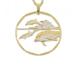 "Common Dolphin Pendant and Necklace, Marshall Island Dolphin Coin Hand Cut, 14 Karat Gold and Rhodium Plated, 1 3/8"" in Diameter,( # 406 )"