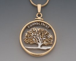 "Connecticut State Quarter Pendant, Hand Cut United States Connecticut Quarter, 14 K and Rhodium Plated, 1"" in Diameter, ( # 2005 )"