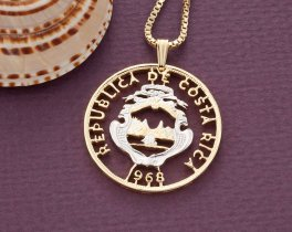 "Costa Rica Pendant and Necklace, Costa Rica Royal Crest Coin Hand Cut, 14 Karat Gold and Rhodium Plated, 1 1/8"" in Diameter, ( # 854 )"