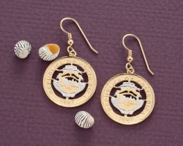 "Costa Rican Earrings Hand Cut Costa Rican 25 Centimos Coins , Costa Rican Coin Jewelry, 7/8"" in Diameter, ( # 544E )"