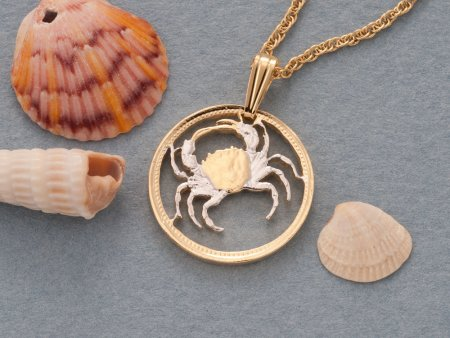 Crab Pendant, Crab Necklace, Sea Life Pendant, Sea Life Jewelry, Blue Crab Pendant, Ocean Jewelry, Womans Jewelry, Cut Coin Jewelry, (# 840)