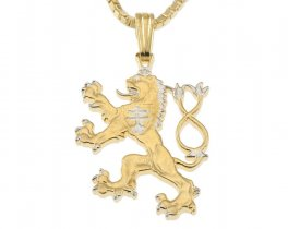 "Czechoslovakian Lion Pendant and Necklace, Czechoslovakian Coin Hand Cut, 14 Karat Gold and Rhodium plated, 7/8"" in Diameter, ( # 427B )"